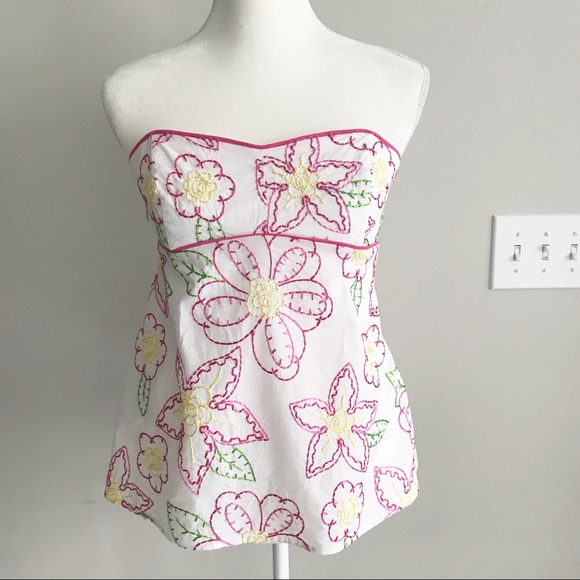 25cff2dd446 Lilly Pulitzer Tops - Lilly Pulitzer Strapless Floral Embroidered Top